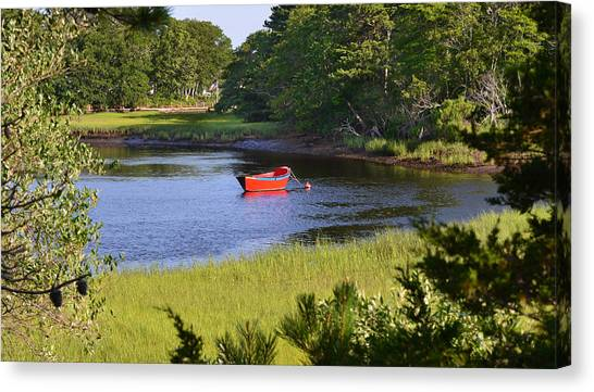 Red Boat On The Herring River Canvas Print