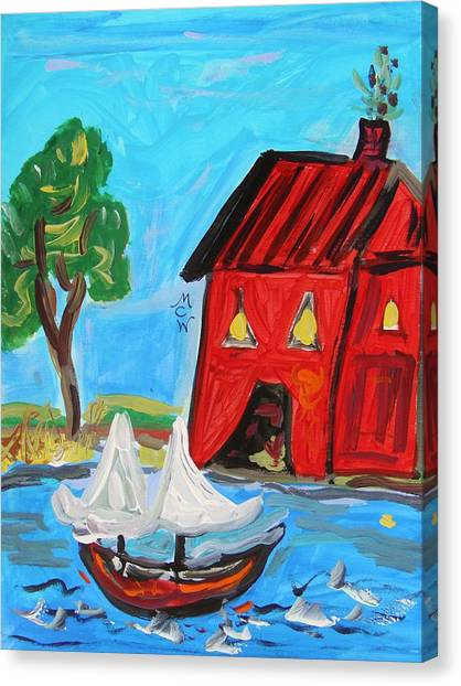 Red Boathouse And Red Sailboat Canvas Print