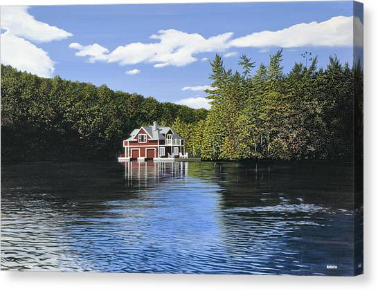 Red Boathouse Canvas Print