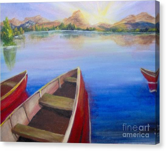 Canvas Print featuring the painting Red Boats At Sunrise by Saundra Johnson
