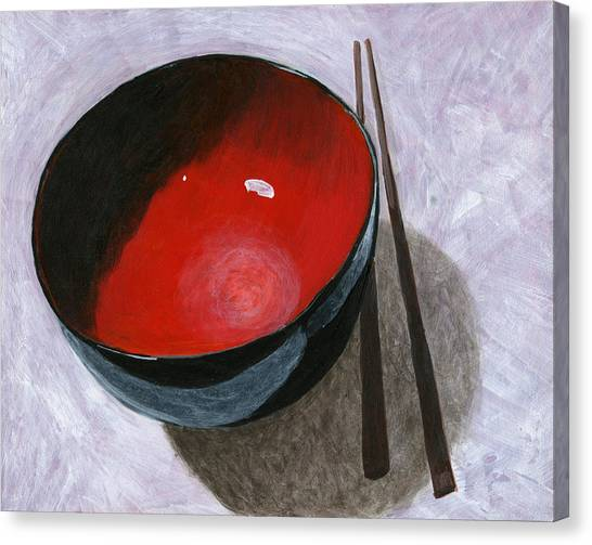 Lacquer Canvas Print - Red Bowl And Chop Sticks by Karyn Robinson