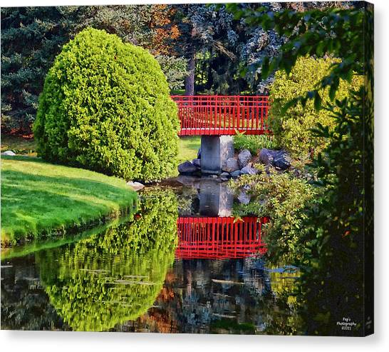 Canvas Print - Red Bridge At Dow Gardens by Peg Runyan
