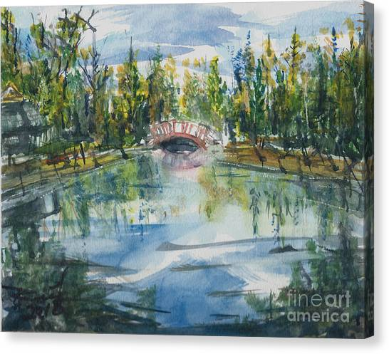 Canvas Print featuring the painting Red Bridge On Lake In The Ozarks by Reed Novotny
