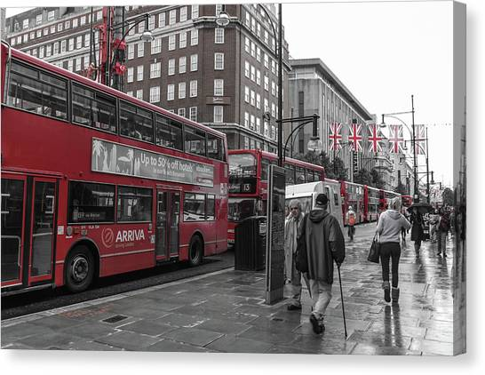 Red Buses And Rain Canvas Print