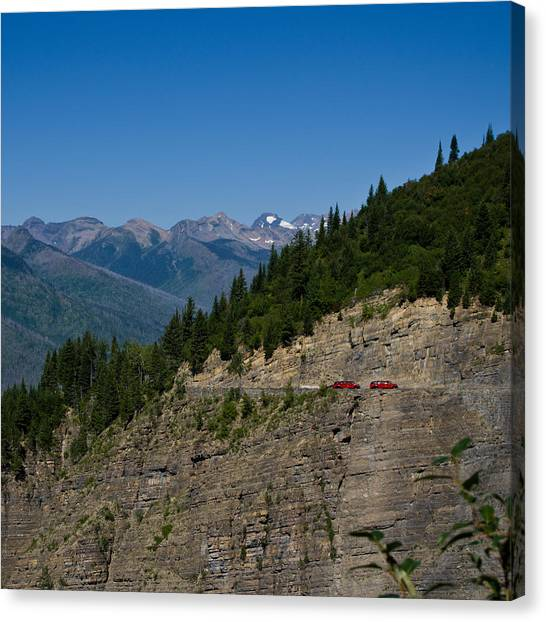 Red Buses, Glacier National Park Canvas Print