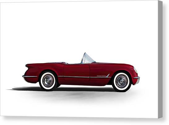 Chevy Canvas Print - Red C1 Convertible by Douglas Pittman
