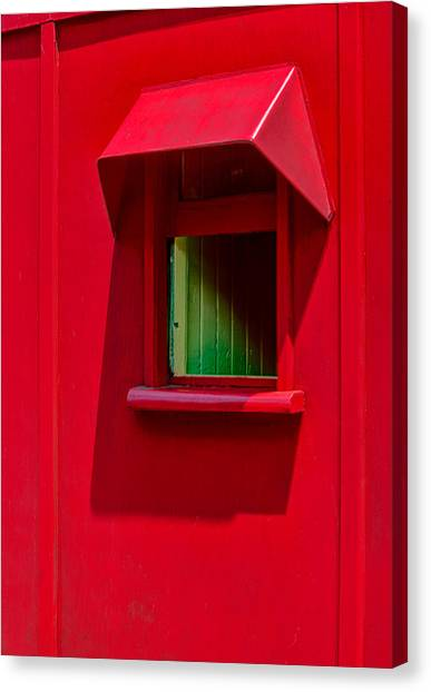 Red Caboose Window In Shade Canvas Print