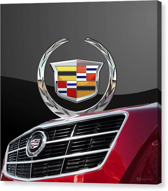 Grills Canvas Print - Red Cadillac C T S - Front Grill Ornament And 3d Badge On Black by Serge Averbukh