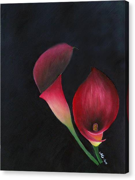 Red Calla Lillies Canvas Print by Mary Gaines