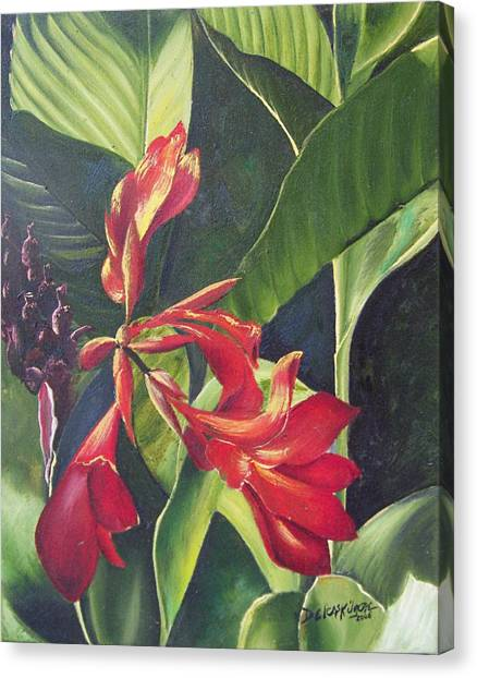 Canvas Print featuring the painting Red Cannas by Deleas Kilgore