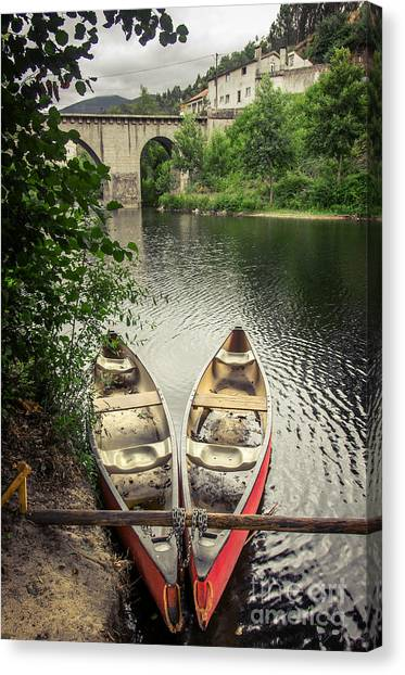 Romanesque Art Canvas Print - Red Canoes by Carlos Caetano