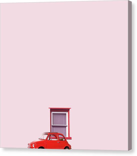 Minimal Canvas Print - Red Car by Caterina Theoharidou