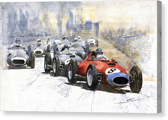 Ferrari Canvas Print - 1957 Red Car Ferrari 801 German Gp 1957  by Yuriy Shevchuk