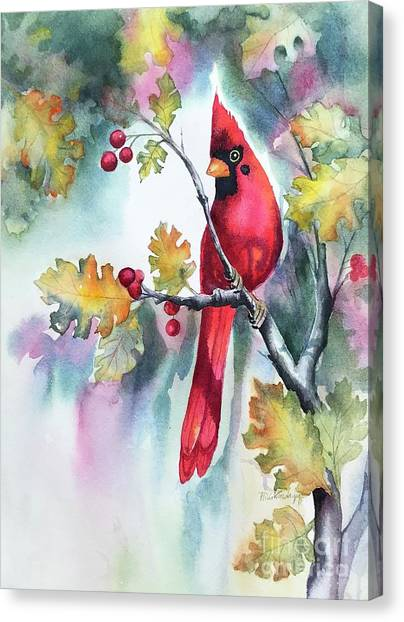 Red Cardinal With Berries Canvas Print