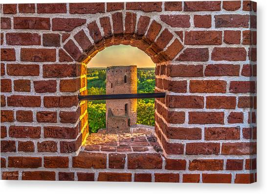 Red Castle Window View Canvas Print