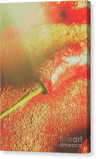 Chilean Canvas Print - Red Cayenne Pepper In Spicy Seasoning by Jorgo Photography - Wall Art Gallery