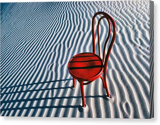 Sandy Desert Canvas Print - Red Chair In Sand by Garry Gay