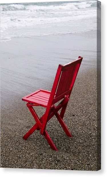 Chairs Canvas Print - Red Chair On The Beach by Garry Gay