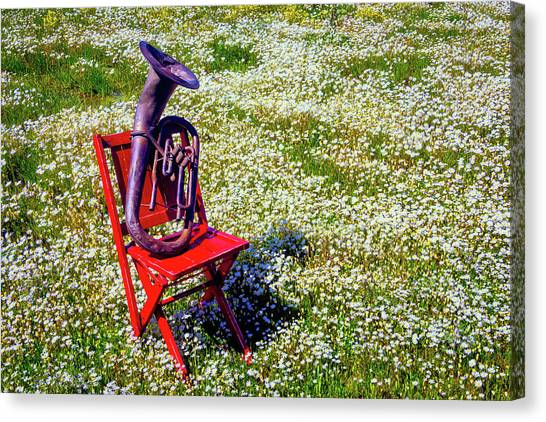 Folding Chairs Canvas Print - Red Chair With Old Horn by Garry Gay