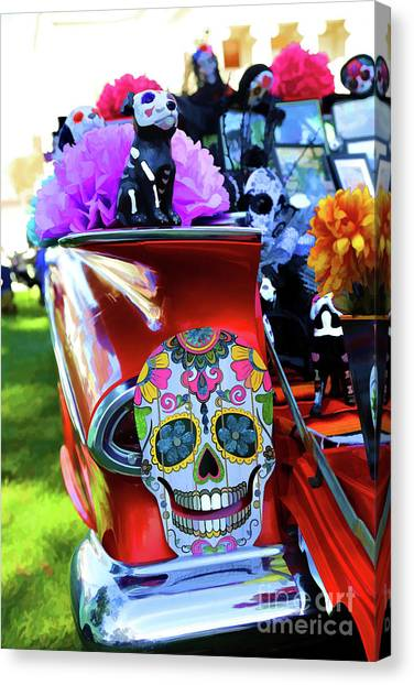 c430efe6c01 Muertos Canvas Print - Red Chevy Decor Skull Day Dead by Chuck Kuhn