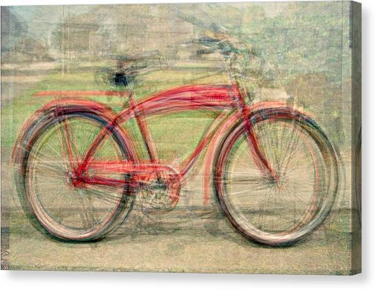 Red Classic Bikes Canvas Print by Denis Bouchard