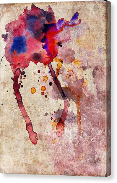 Red Color Splash Canvas Print