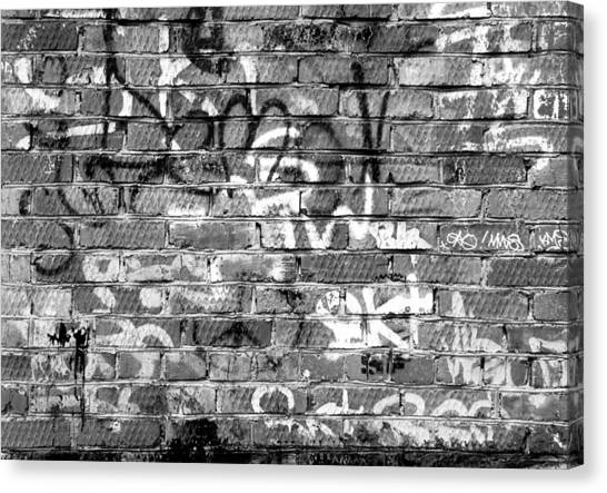 Red Construction Brick Wall And Spray Can Art Signatures Canvas Print