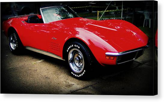Red Corvette Canvas Print by Emily Kelley