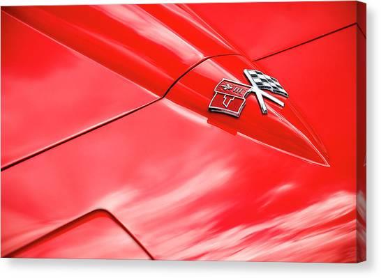 Red Corvette Hood Canvas Print