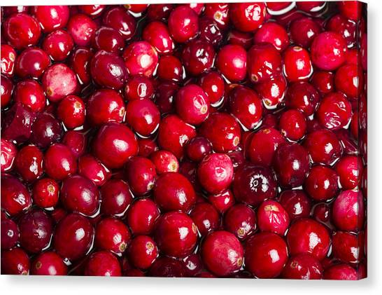 Cranberry Sauce Canvas Print - Red Cranberries In Sauce Pot by John Trax