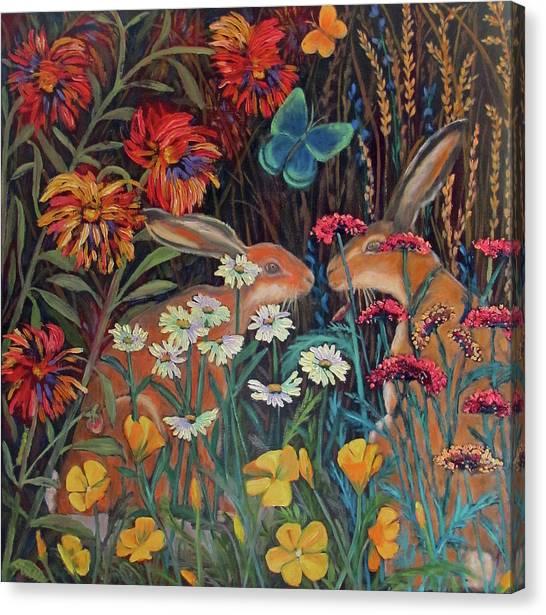 Red Dahlia Garden- Dyptich A Canvas Print