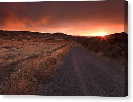 Country Canvas Print - Red Dawn by Mike  Dawson