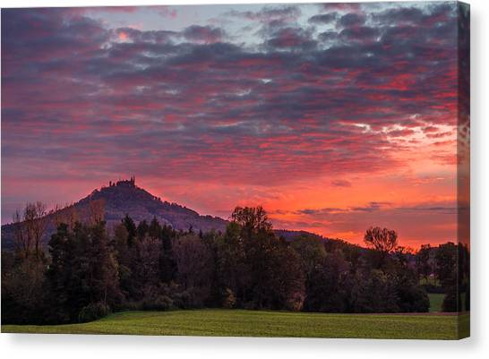 Red Dawn Over The Hohenzollern Castle Canvas Print