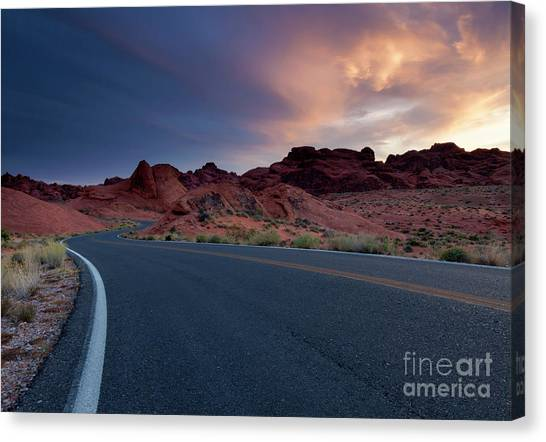 Valley Of Fire Canvas Print - Red Desert Highway by Mike Dawson