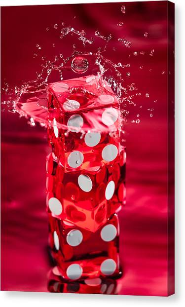 Wager Canvas Print - Red Dice Splash by Steve Gadomski
