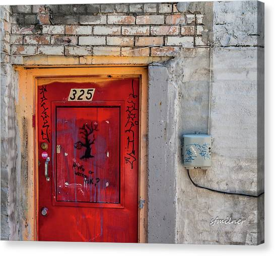 Downtown Salt Lake City Canvas Print   Red Door 325 By Steven Milner
