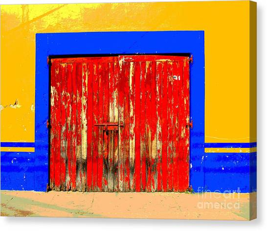 Red Door By Darian Day Canvas Print by Mexicolors Art Photography