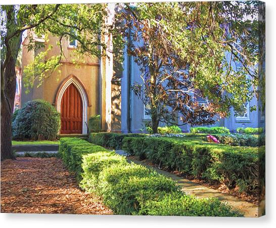 Canvas Print featuring the photograph Red Door Church by Kim Hojnacki