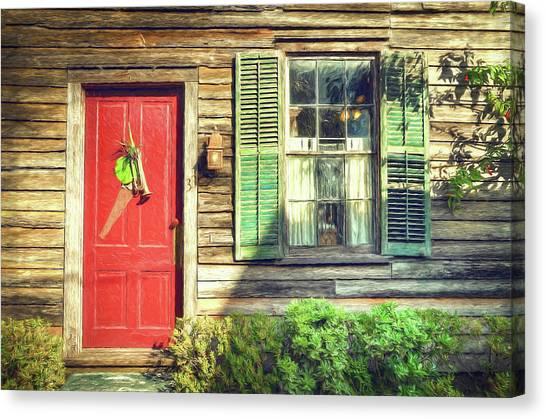 John Adams Canvas Print - Red Door With Saw by John Adams