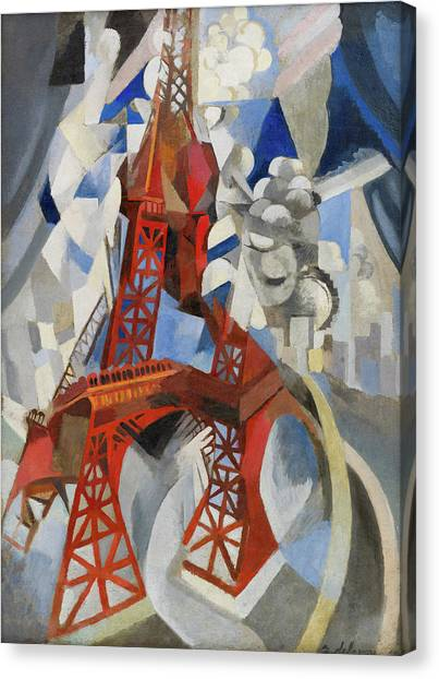 Lyrical Abstraction Canvas Print - Red Eiffel Tower by Robert Delaunay