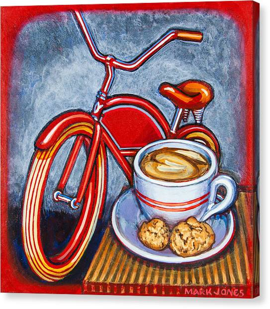 Red Electra Delivery Bicycle Cappuccino And Amaretti Canvas Print
