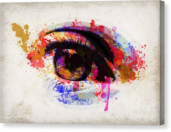Light Paint Canvas Print - Red Eye Watercolor by Delphimages Photo Creations