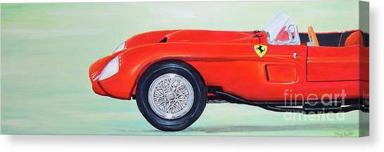 Canvas Print featuring the painting Red Ferrari by Mary Scott