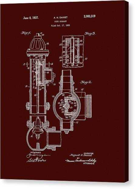 Volunteer Firefighter Canvas Print - Red Fire Hydrant Patent by Dan Sproul