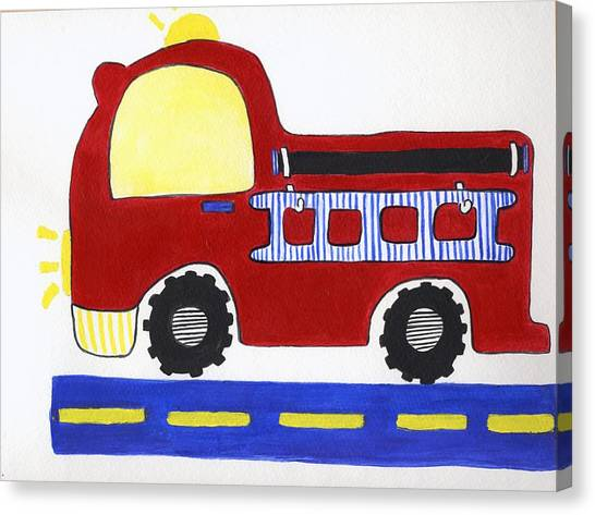 Red Fire Truck Canvas Print by Christine Quimby