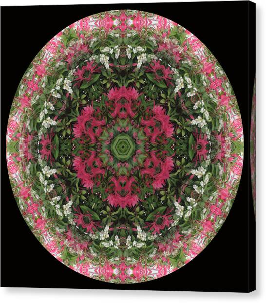 Red Flower Faces Kaleidoscope Canvas Print