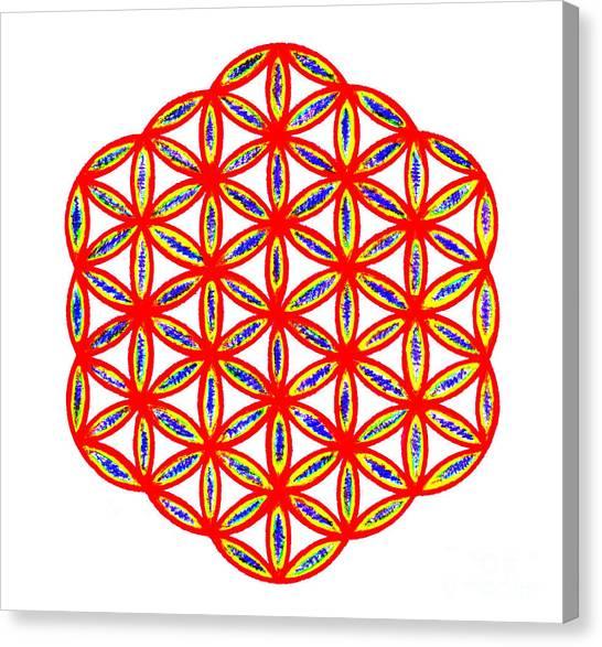 Red Flower Of Life Canvas Print by Chandelle Hazen