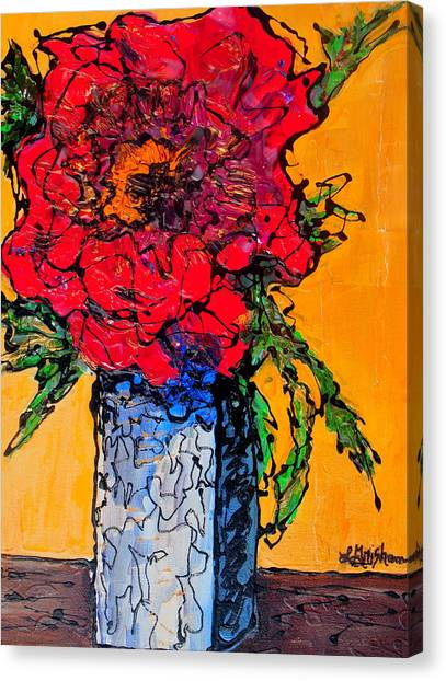 Red Flower Square Vase Canvas Print
