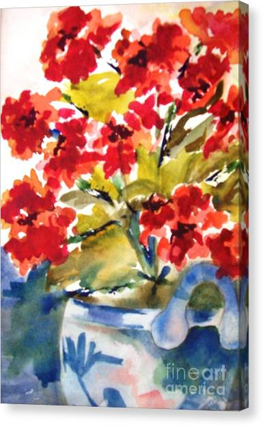 Red Flowers Canvas Print by Sandi Stonebraker