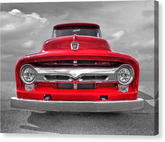 Red Ford F-100 Head On Canvas Print